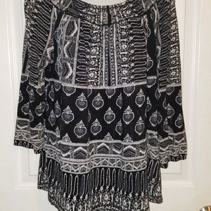LUCKY BRAND Long Sleeve Boho Peasant Style BLouse